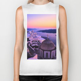 Gorgeous sunset in Santorini Biker Tank