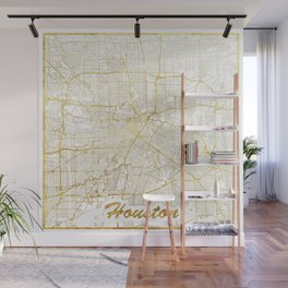 Houston Map Gold Wall Mural