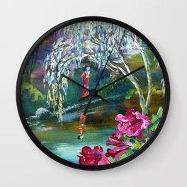 Japanese Garden Flowers Wall Clock