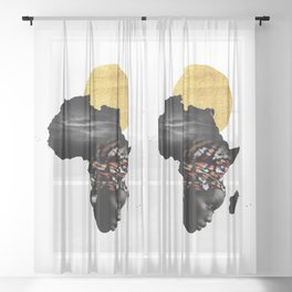 Africa Map Afrocentric Black Woman Portrait Sheer Curtain