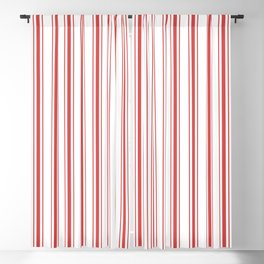Mattress Ticking Wide Striped Pattern in Red and White Blackout Curtain