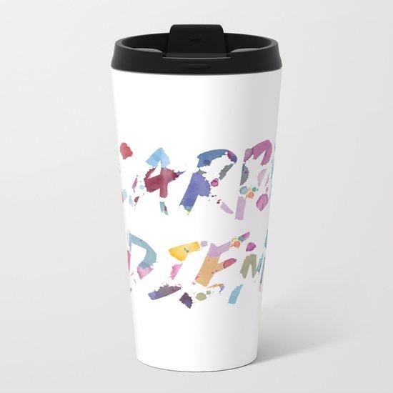 Carpe Diem Color Ink Metal Travel Mug