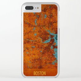 Boston 1893 old map, blue and orange artwork, cartography Clear iPhone Case