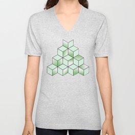 Electric Cubic Knited Effect Design Unisex V-Neck