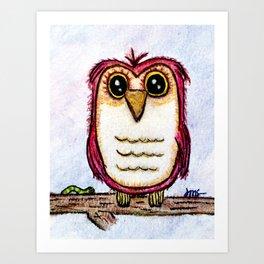 Owl at Rest - Watercolor Art Print