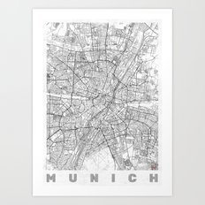 Munich Map Line Art Print