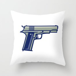1911 Semi-Automatic Pistol Side Retro Throw Pillow