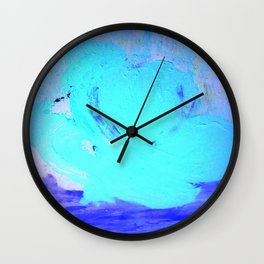 Neon Winter Rose, Abstract In Nature, Ice Blue Wall Clock