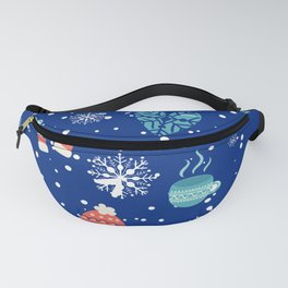 Winter Pattern Mittens Mugs Hearts Snow Flakes Fanny Pack