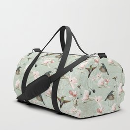 Vintage Watercolor hummingbird and Magnolia Flowers on mint Background Duffle Bag