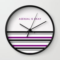 asexual Wall Clocks featuring Asexual Is Okay by jess