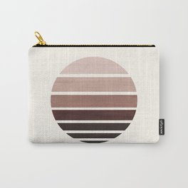 Raw Umber Mid Century Modern Minimalist Circle Round Photo Staggered Sunset Geometric Stripe Design Carry-All Pouch