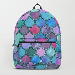 Colorful Teal Glitter Mermaid Scales Backpack