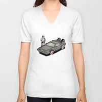 delorean V-neck T-shirts featuring Stormtrooper and his Delorean by Vin Zzep