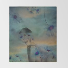 Woman hidden in a world of flowers Throw Blanket
