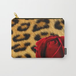 Leopard Print Red Rose Carry-All Pouch
