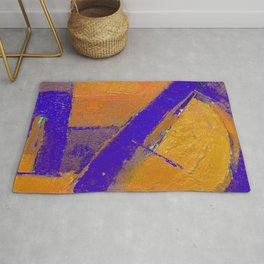 Blue Yellow Abstract Contemporary Colorful Boho Art Rug