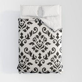 Damask Baroque Pattern Black on White Comforters