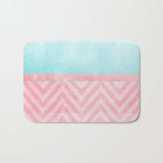 Pink And Turquoise Chevron Bath Mat By Ingrid Beddoes