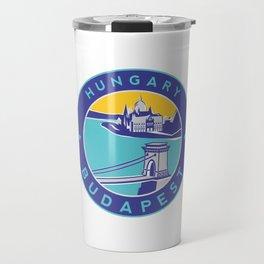 Budapest, Hungary, blue circle Travel Mug