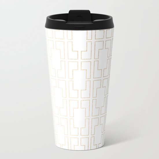 Simply Mid-Century in White Gold Sands Metal Travel Mug