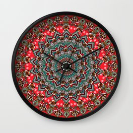 Mandala Christmas Pug Wall Clock