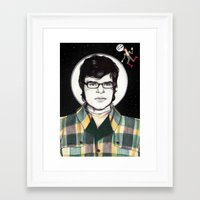 flight of the conchords Framed Art Prints featuring Flight of the Conchords: JEMAINE CLEMENT IN SPACE! by Dianah B