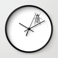 fly Wall Clocks featuring Fly by Antoine