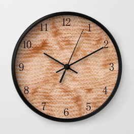 Beige fluffy knitted fabric texture abstract Wall Clock