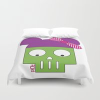 minnie Duvet Covers featuring MINNIE SKULL by Riot Clothing