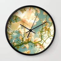magnolia Wall Clocks featuring Magnolia by Cassia Beck