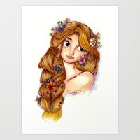 rapunzel Art Prints featuring Rapunzel by MissKerrieJ