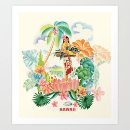 Vintage Hawaiian Travel Poster Art Print