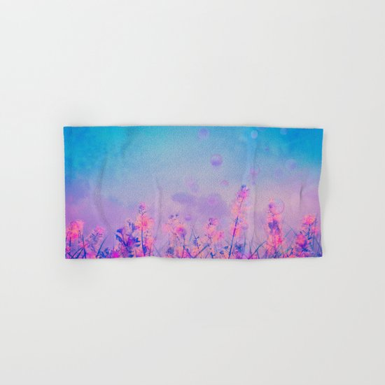 Spring Purple Dream (Neon Pink Wildflowers, Indigo Sky) Hand & Bath Towel