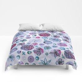 Flowers in Circles | Purple Comforters