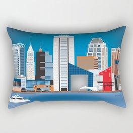 Baltimore, Maryland - Skyline Illustration by Loose Petals Rectangular Pillow