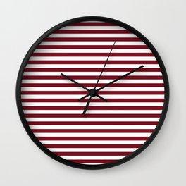 Deep Red Pear and White Thin Horizontal Deck Chair Stripe Wall Clock