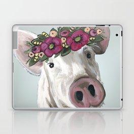 Pig with Flower Crown, Cute Pig, Farm Animal Art Laptop & iPad Skin