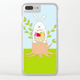 funny rabbit on the stump Clear iPhone Case