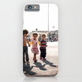 Three little girls fleeing their homeland   Documentary photography art print iPhone Case