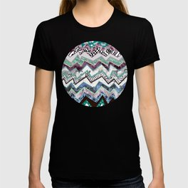 Cool Blues Zigzags Abstract T-shirt