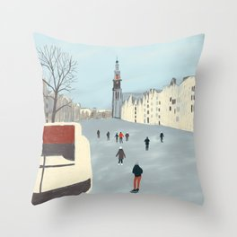 Ice Skating in Amsterdam Throw Pillow