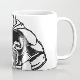 Superhero Plumber With Wrench Woodcut Coffee Mug