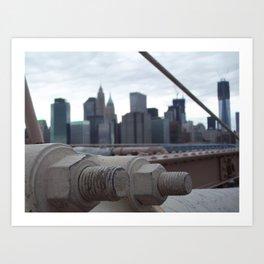 Brooklyn Bridge, New York City, Structural Architecture, Suspension Cable attachments Art Print