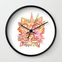 lsd Wall Clocks featuring LSD cat by AlexTroi