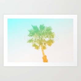 Retro Vintage Ombre Los Angeles, Southern California Palm Tree Colored Print Art Print