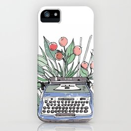 Vintage typewriter. Blue iPhone Case