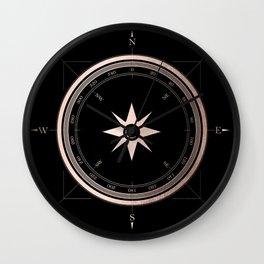 Rosegold Compass on Black II Wall Clock