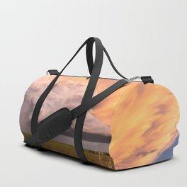 Storm Runner - Thunderstorm in Golden Light Over Kansas Landscape Duffle Bag