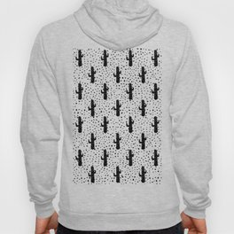 Black and White Modern Cactus and Triangle Geometric Hoody